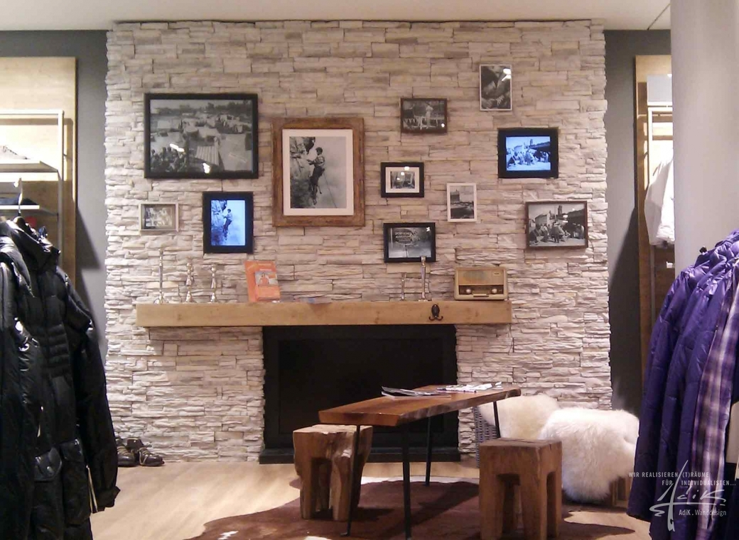 Wohnzimmer design wand stein  Im Wohnzimmer Steinwand von AdiK - Wanddesign
