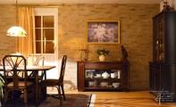 Esszimmer mit einer Steinwand gestaltet