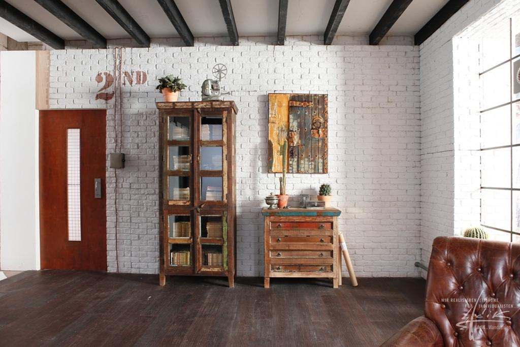 ziegelwand wohnzimmer:weiße Ziegelwand im Wohnzimmer