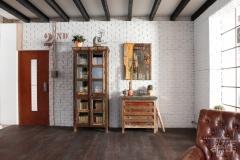 weiße Ziegelwand im Wohnzimmer