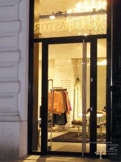 Stein-Ziegelwand im Shop