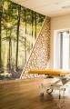 Runde Baumscheiben als Wandverkleidung