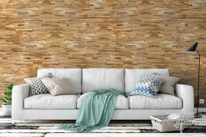 Holzwand im Wohnzimmer
