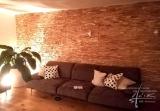 Eichenholzwand im Wohnzimmer