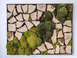 Moosbild mit Holz
