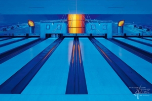 UV-Malerei in einer Bowlingbahn