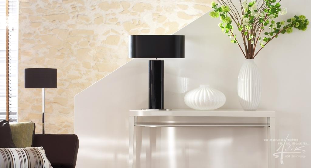 Wohnzimmer design wand stein  Steinwand